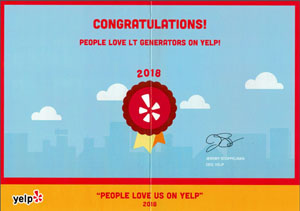 LT Generators Yelp Award